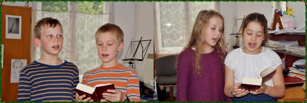 Éneklő Egyház kötetből gyakorló gyerekek