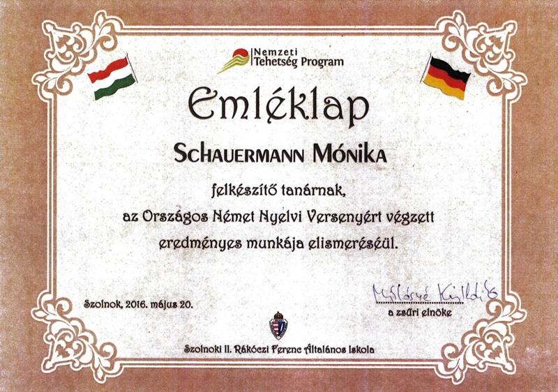 Schauermann Mónika oklevele